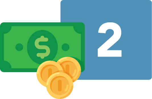 Step two money image on how the Cash on Web works. Load your Cash on Web Account is the second step.