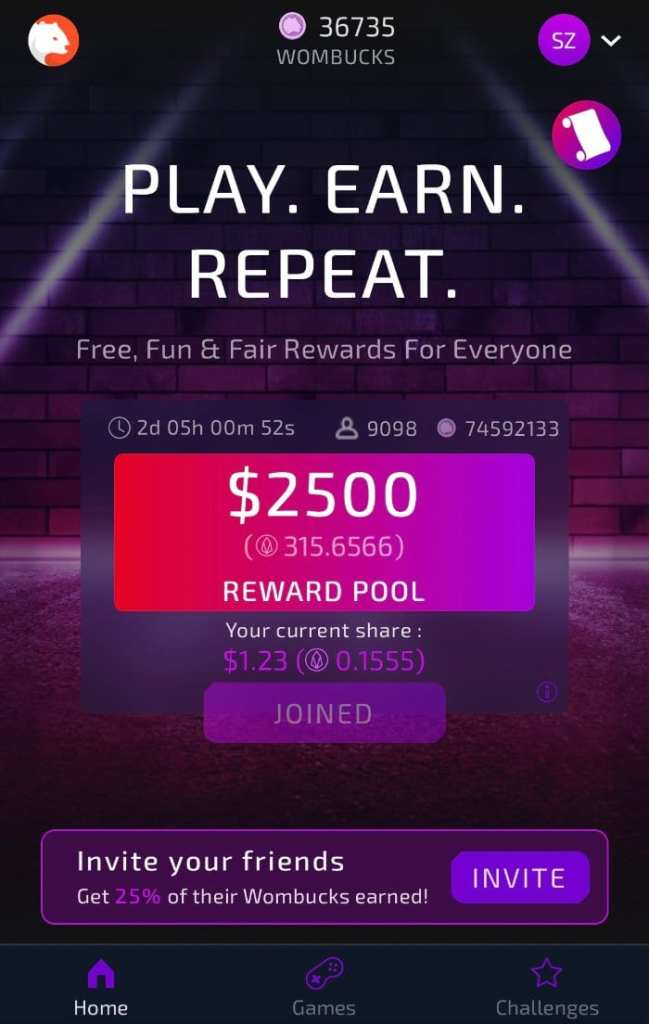 Womplay play earn repear EOS Wombucks reward pool