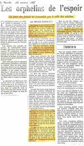 LES ORPHELINS DE L'ESPOIR article Le Monde par Bruno Ducoli 16 mars 1985