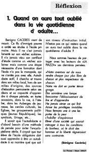 LA PIAZZA N.23 Mars 1992 réflexion Caceres
