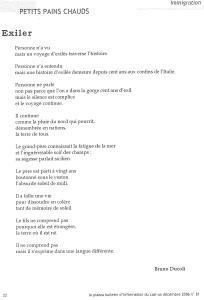 LA PIAZZA N.81 Décembre 2006 poeme Exiler par Bruno Ducoli