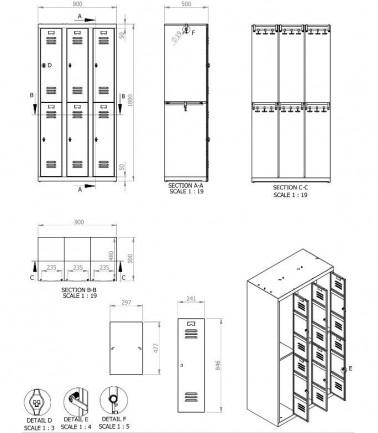 vestiaires metalliques biplaces de 6 casiers largeur 30 cm