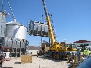 Out goes the top half of the old GSI Airstream 2320 dryer. We hear it's headed for a new home near Shelbyville, Indiana