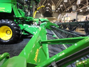 I discussed this new John Deere flex draper platform with a company representative.  This one cuts a swath of 40 feet!