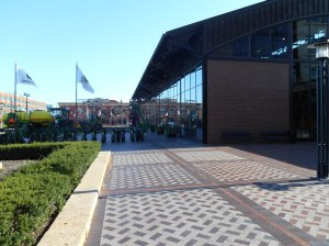 An outdoor shot of the John Deere Pavilion, and exhibit hall