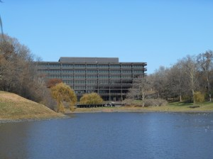 This is John Deere's World HQ building.  It is situated on a beautiful wooded campus, looking south over the Rock River Valley