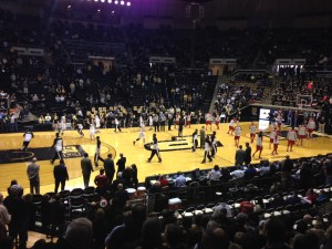 The teams warm up before the noon tip-off