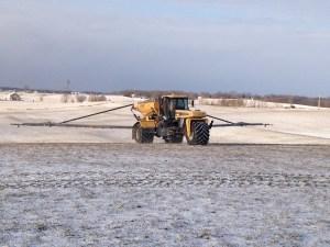 Applying top-dress nitrogen at the Dunn farm