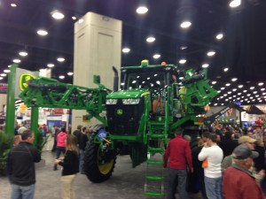 The new John Deere sprayer on display at NFMS.  It's a whole new machine, with a stronger boom, and revamped frame, new cab, and other advanced technology in the spraying system.