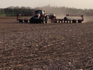 Ross operates the MX 290 tractor with the 1250 24-row corn planter.  This is at the Holscher farm location southwest of Wheatland.
