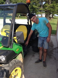 After topping off the gasoline tank, Nicolas and I are ready to spray some field borders to stop the Johnsongrass.