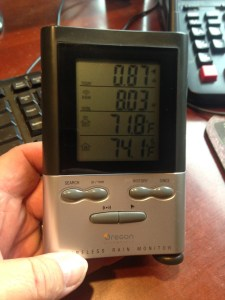 """Rainfall for this morning, Saturday the 8th.  .87"""", (22mm)"""
