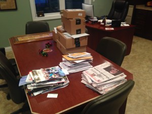 Here is the mail (well, most of it... the farm business mail is on the desk) that greeted our return to the farm.