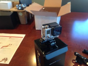 This is the GoPro Hero3+ camera.  It has great flexibility of use, but will mount on the Phantom2 UAV.