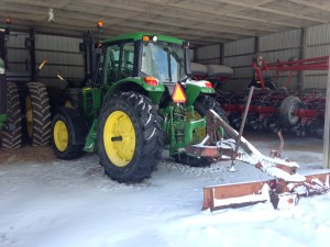 The JD 7130 has pushed  a lot of snow this week, and it's ready if needed again.