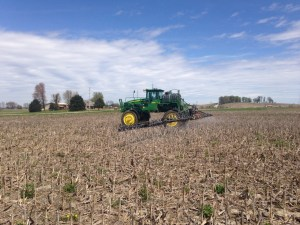 John is spraying the preplant herbicide at the Pond farm.  Last year's corn stubble is visible in this picture.  The next field operation here will be the soybean planter!   Hopefully in a week-or-so.  Sounds like we have some more cold/wet weather coming.