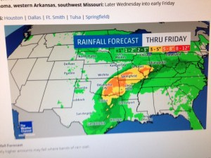 """According to this Weather Channel map, we are near the eastern tip of the yellow band, indicating 3-5"""" rain through Friday."""