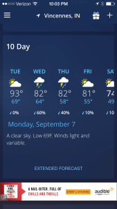 There is a downward trend in daytime temps predicted by Weather Channel for our part of SWIN