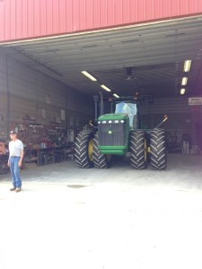 The JD 9330 waits in the shop for Ray from Hutsons.
