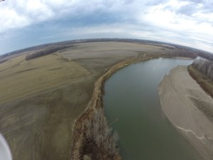 Here is a view of White River, looking upstream, with our Nellie farm's field on the left. You can see how the erosion of the river bank has 'eaten' into the levee. The levee will be moved out into the field about a hundred feet, and rebuilt to its current specs. The river bank will continue to erode and over time, the levee will be in danger again. We hope this construction event will gain us 7-10 years of flood protection before a similar relocation of the levee will be required again. In the 50+ years we've owned this farm, we have rebuilt this levee 6 times!