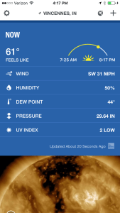 On this screen capture from the phone, notice the wind speed... and there are gusts to 40 mph!  (64km)