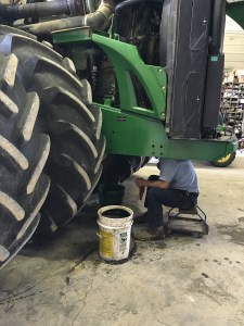 The 9330 takes its turn in the shop for an oil change