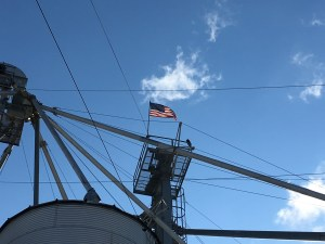 The flag whips in the stiff breeze this morning.  It stands out against that brilliant blue sky.
