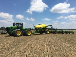 After the final patch of replant was covered, here is the last view of the JD 9330 and the JD 1910 air cart and 1JD 1890 NT drill in their field positions
