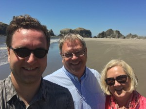 Here we are on the beach at Bandon, Oregon. It was kinda chilly and very windy here!