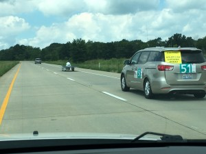 Quite a caravan to accompany this solar car.