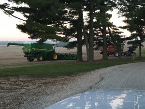 The combines wait in the edge of the field for the dew to burn off