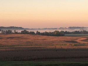 The valleys are filled with fog this morning, signaling a later return to cutting soybeans