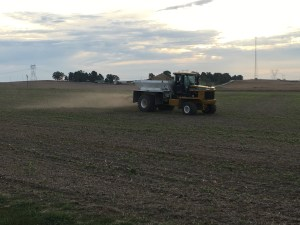 Here goes the CPS truck spreading lime. It is applied based on the soil test map, varying the rate from .5 to 3T per acre.