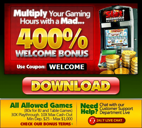 Slotmadness 400% Welcome Bonus up to $4000