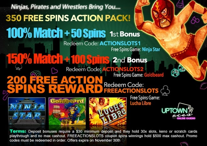 Uptown Aces 350 FREE Spins November Action Pack
