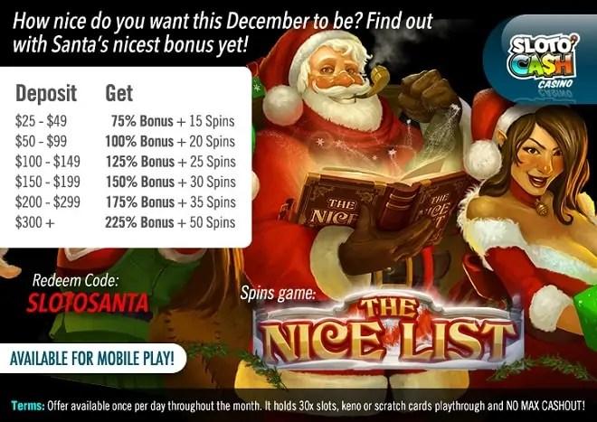 SlotoCash Casino Santa Nicest List Christmas Bonus