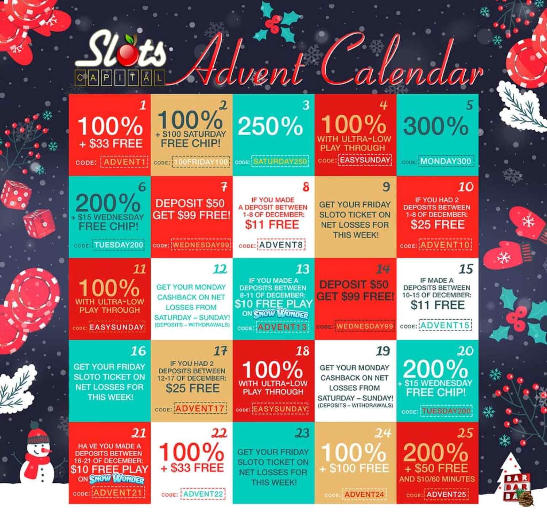 Slots Capital Online Casino 25 Days of Christmas Advent Bonus Calendar