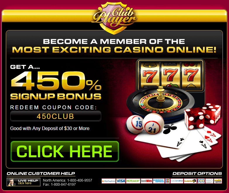 Club Player Casino 450% Welcome Bonus