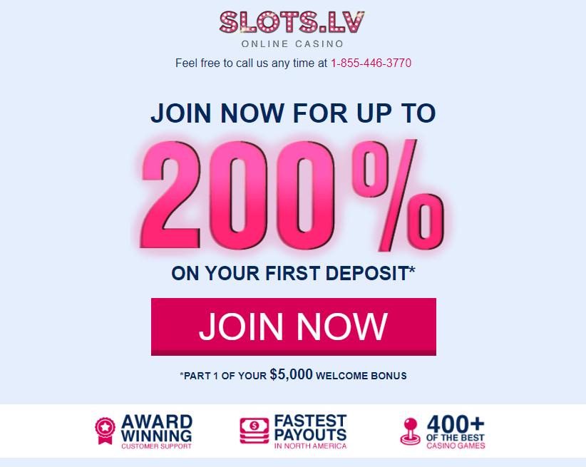Slots LV 200% Match Bonus