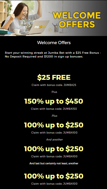 Jumba Bet 25 No Deposit Bonus Free Chip Plus 1200 Welcome Bonus Casino Bonus Codes 365
