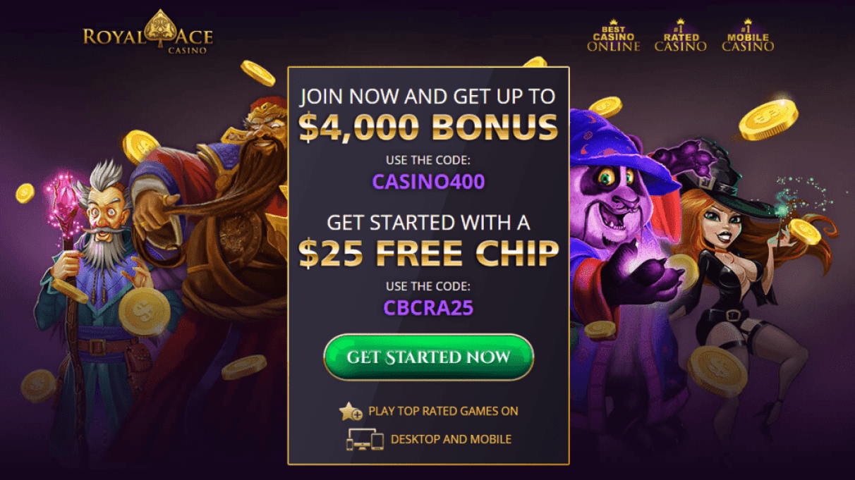 Royal Ace Casino Exclusive $25 FREE Chip and $4000 Sign up Bonus