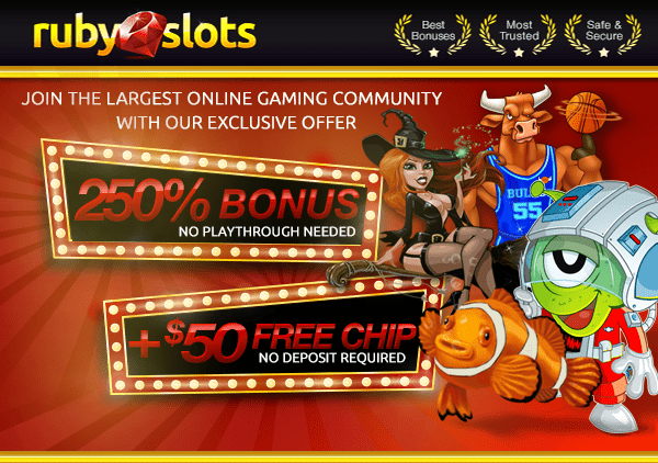 Ruby Slots 250% Match Welcome Bonus and $50 FREE Chip