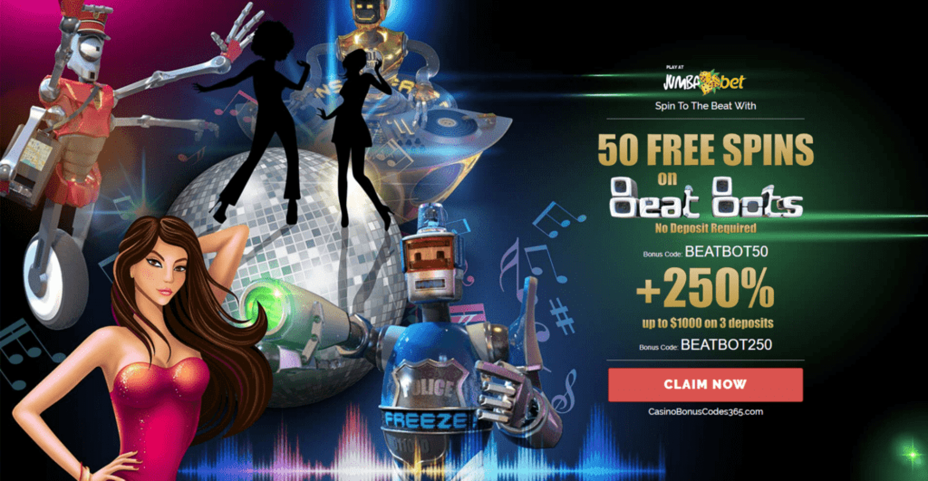 Jumba Bets Beat Bots Saucify 50 FREE Spins plus 250% Bonus