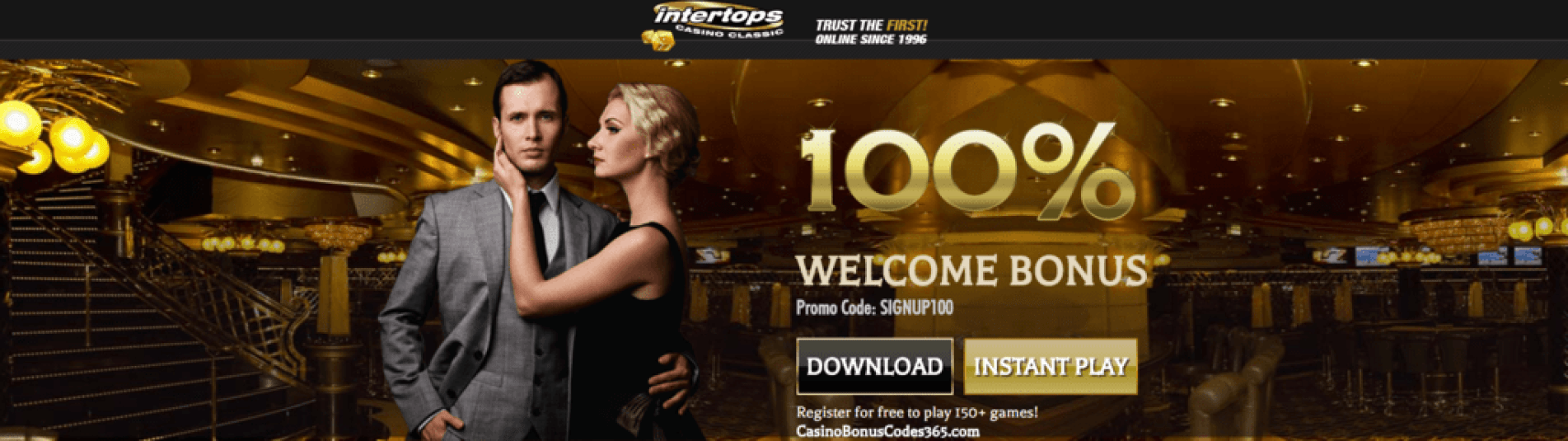 Intertops Casino Classic Sign Up Bonus 100% New Players