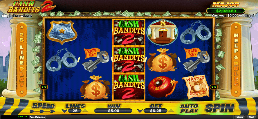 Diamond Reels Casino RTG Cash Bandits 2