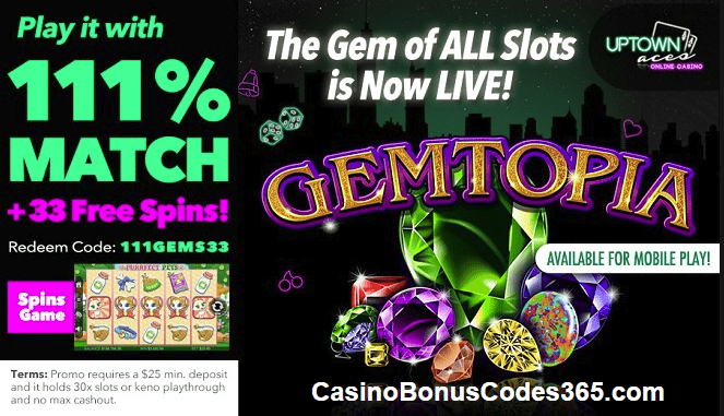 Uptown Aces RTG New Game Gemtopia special offer