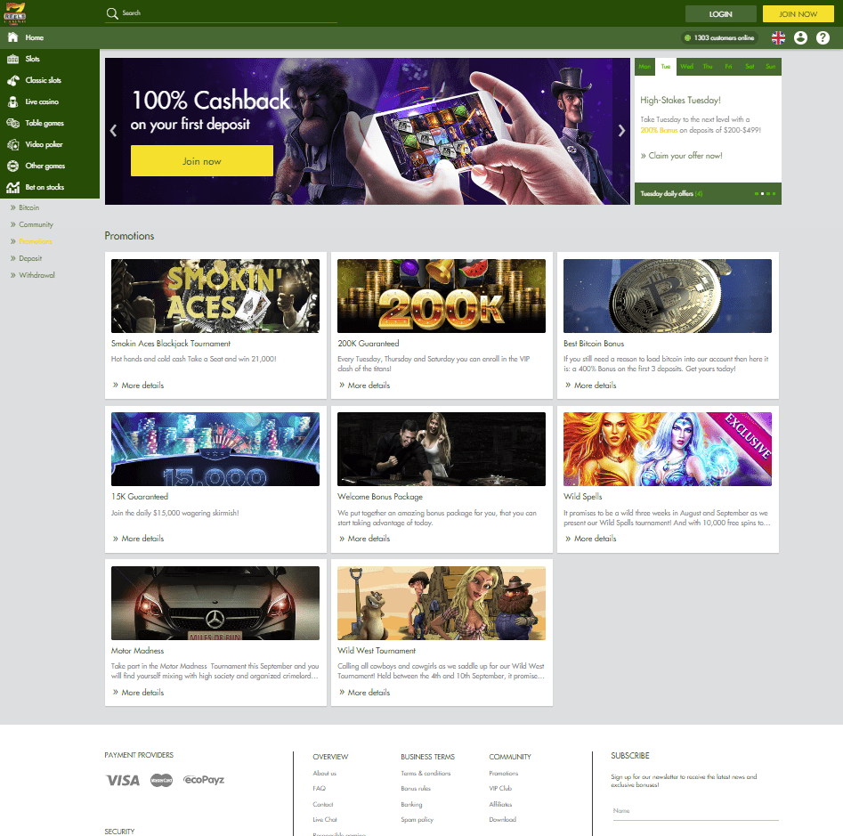 7 Reels Casino New Home Page