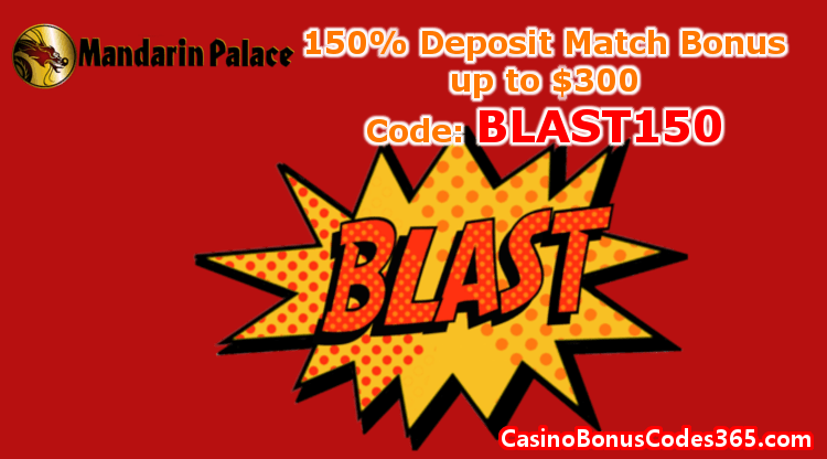 Mandarin Palace Online Casino 150% Match Bonus up to $300