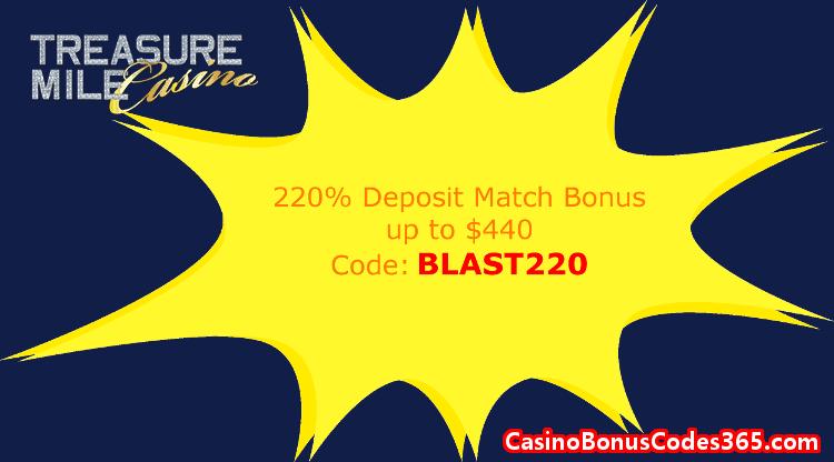 Treasure Mile Casino 220% Match up to $440