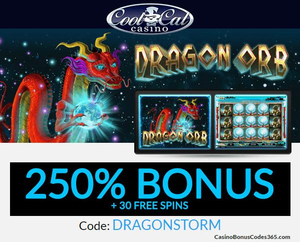 Coolcat Casino Dragon Orb 250% Bonus plus 30 FREE Spins